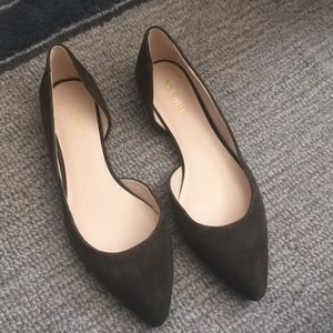 8.5 suede pointed toe flats dark taupe color